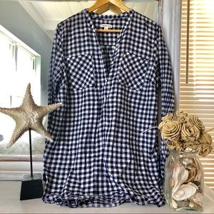 Long Sleeve Blue and White Tunic Length Top
